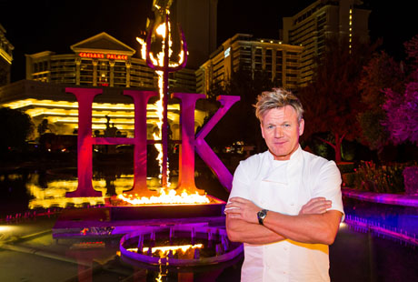 Gordon Ramsay standing in front of Hell's Kitchen