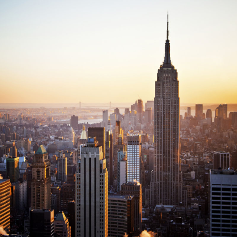 Sunset behind Empire State Building