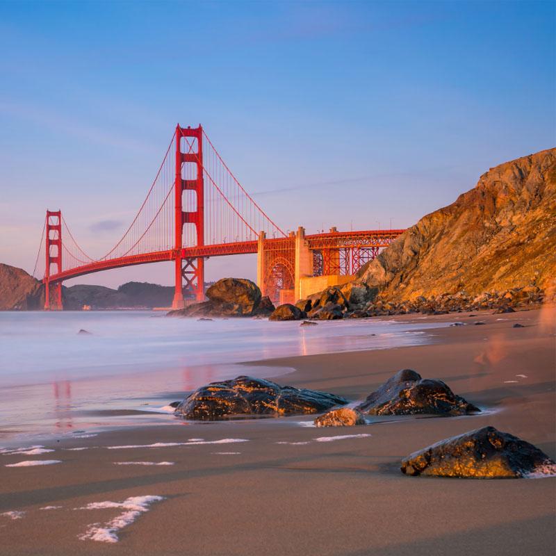 Beach with Golden Gate Bridge in the background