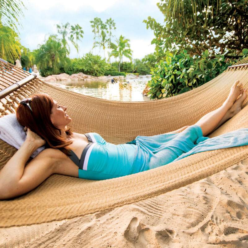 Laying in a hammock