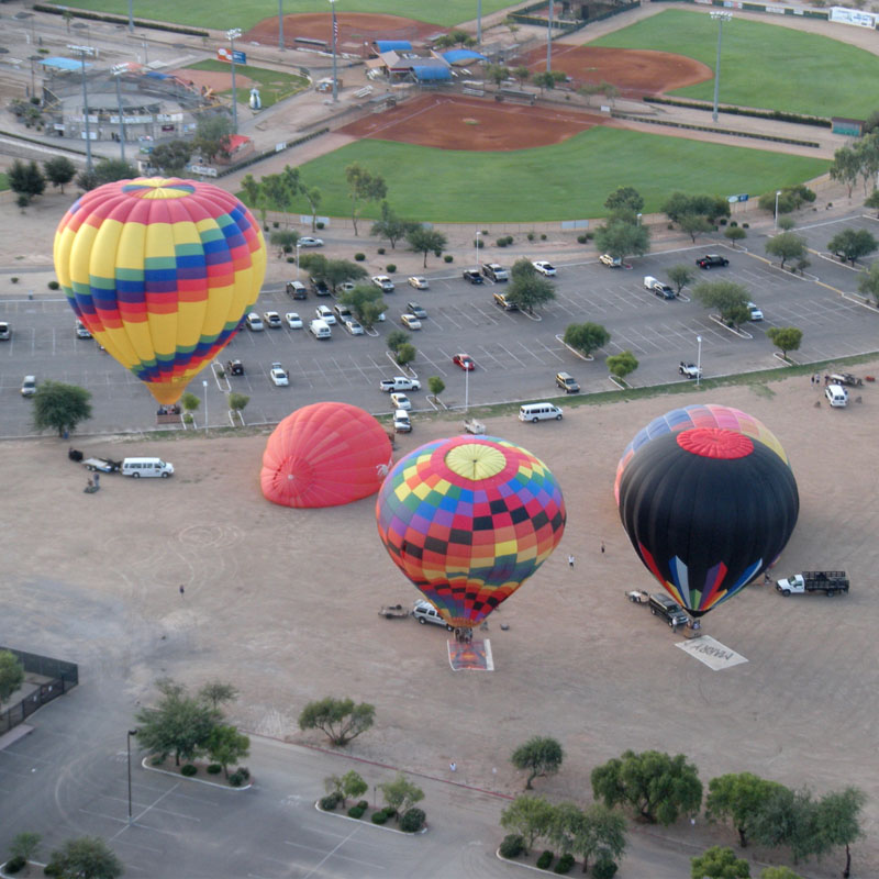 4 Hot Air Balloons taking off