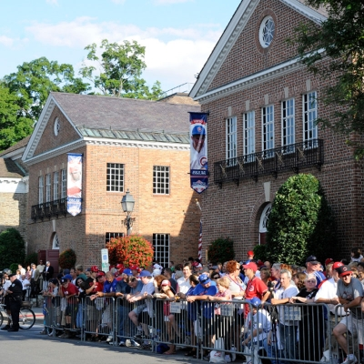Crowd standing outside the National Baseball Hall of Fame